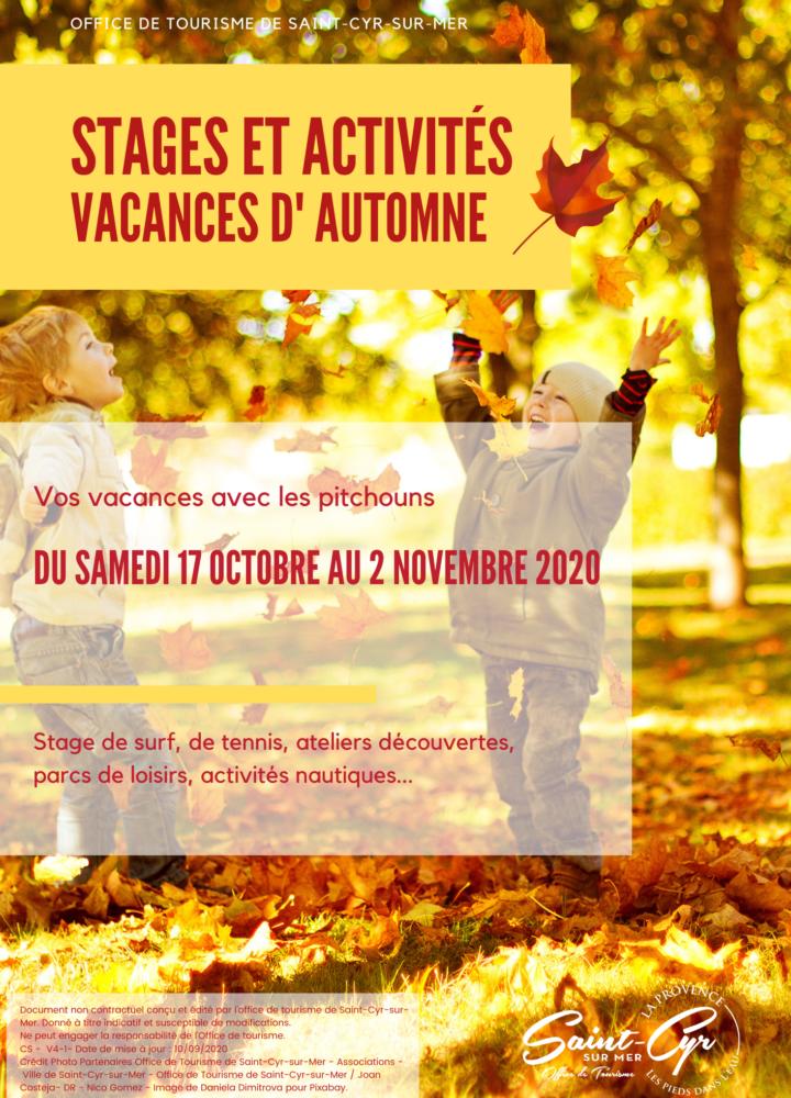 Stages et activités des vacances de la Toussaint 2020 à Saint Cyr sur Mer